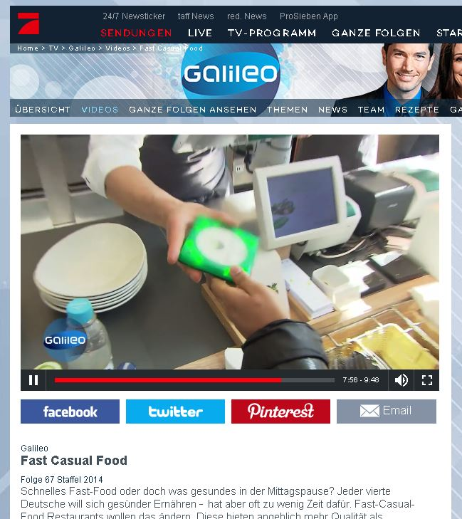 Pager auf Pro7 Galileo zum Thema Fast Casual Food