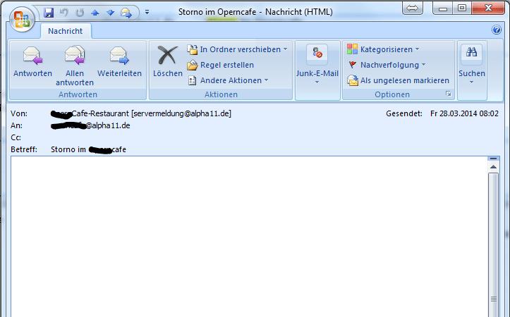 Storno-Meldung per E-Mail