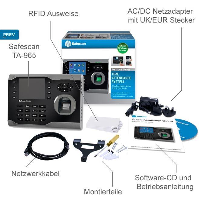 RFID-Zeiterfassung-Stempeluhr-Safescan-965-Lieferumfang