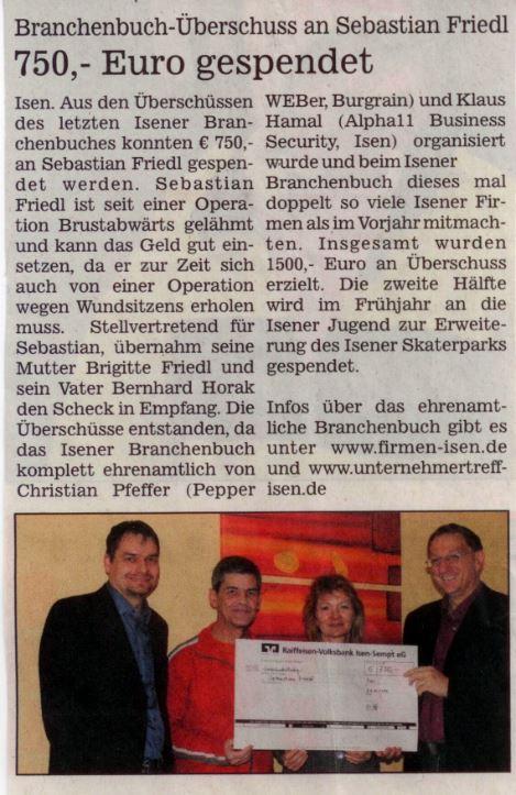 Lokalanzeiger-Pressebericht-Spendenaktion-Sebastian-Friedl-Klaus-Hamal