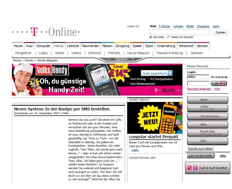 SMS-Bestellsystem-T-Online-Magazin