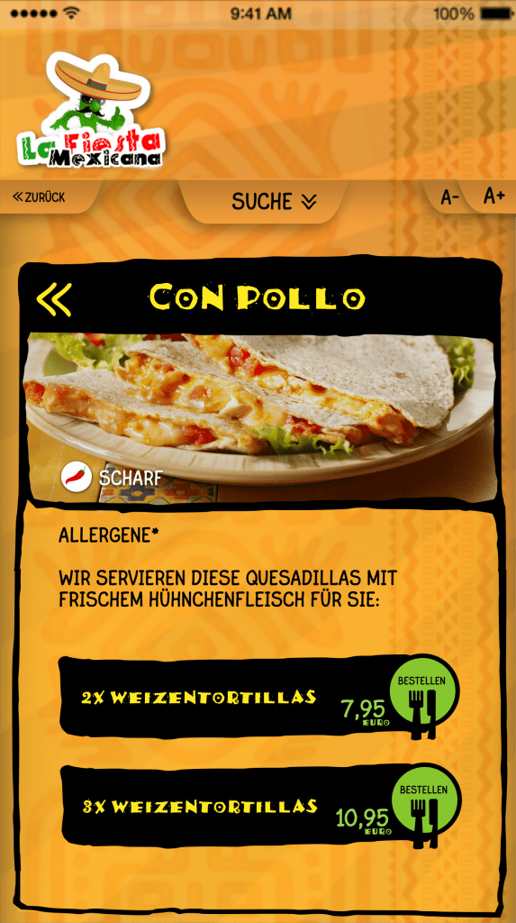 Digitale Speisekarte mit Bestellfunktion