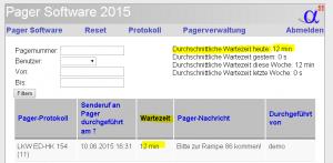 Berechnung der durchschnittlichen Wartezeit mit Hilfe der Pager-Software