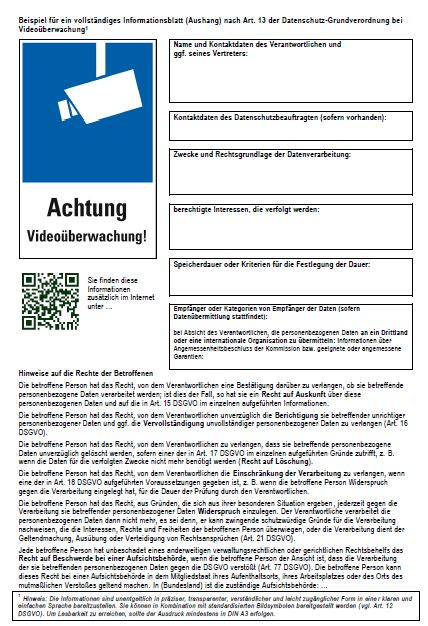 DSGVO Schild Videoüberwachung