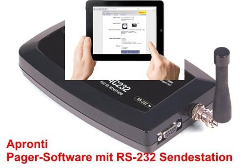 Pager-Software hier mit einer RS232-Sendestation (auch als USB und LAN verfügbar)