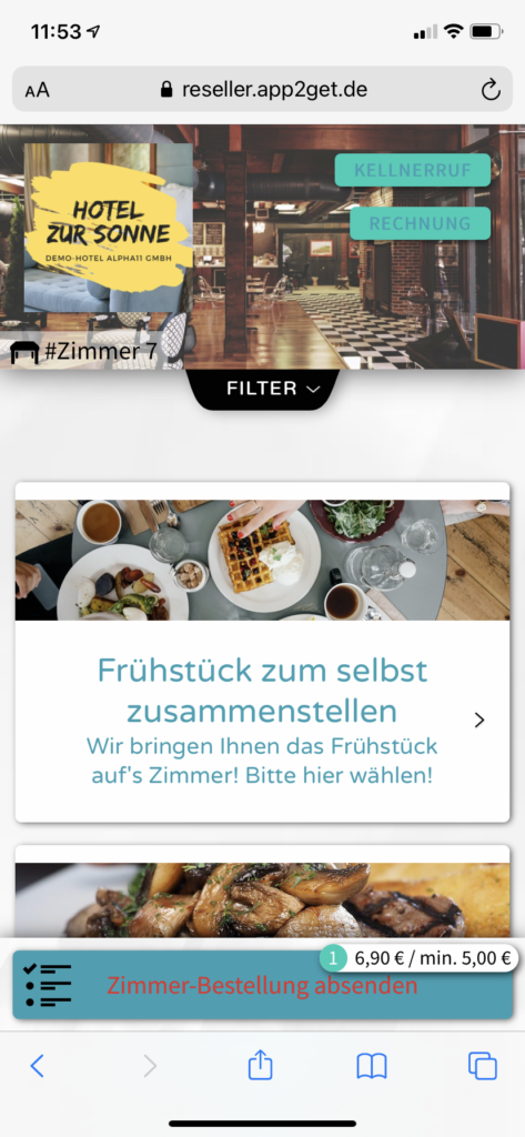 Frühstück im Hotel-Zimmer selbst bestellen mit app2get Self-Order